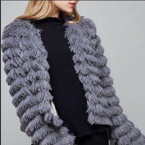 Fantastic Fawn Chic Grey Faux Fur Shaggy Jacket